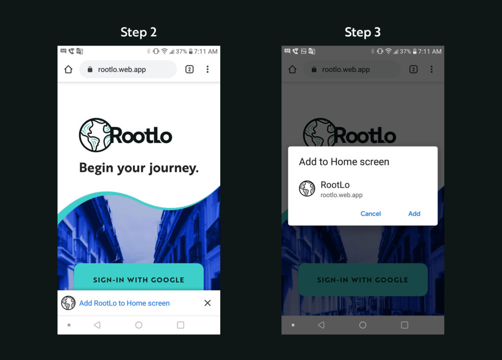 Installing RootLo on Android: Step 2 and 3